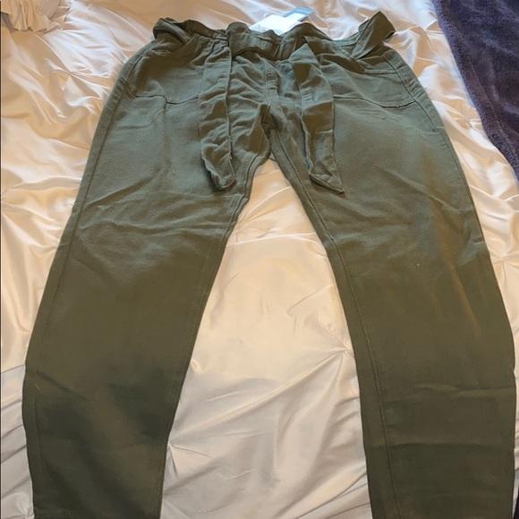 Nasty Gal Pants - Green Khaki Paperbag Tie Pants